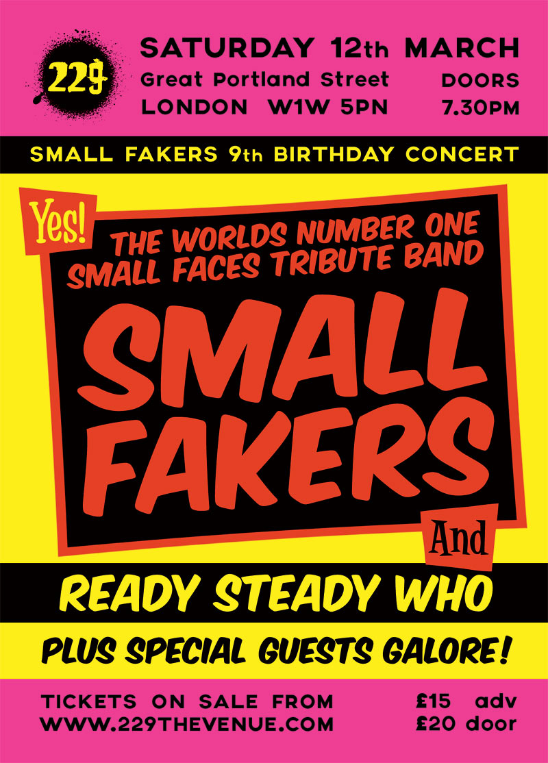 Small Faces Tribute Small Fakers 9th Birthday Concert at 229 London