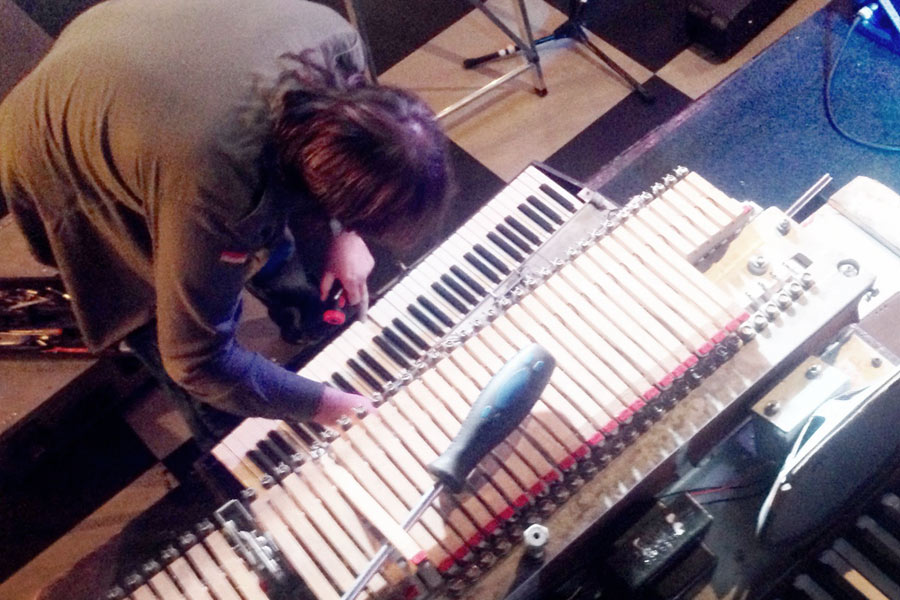 Dean attempting some Wurlitzer repairs